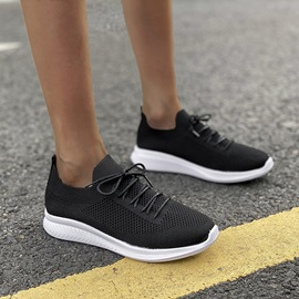 Slip-On Round Toe Lace-Up Plain Sneakers