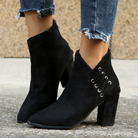 Pointed Toe Chunky Heel Back Zip Professional Boots