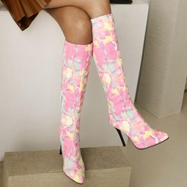 Stiletto Heel Color Block Pointed Toe PU Boots