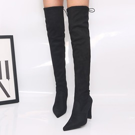 Lace-Up Back Chunky Heel Pointed Toe Thread Boots