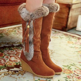 Slip-On Patchwork Round Toe Casual Boots