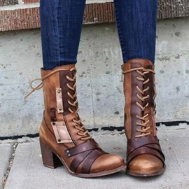 Chunky Heel Lace-Up Front Round Toe Brush Off Boots