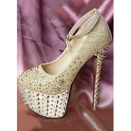 Sparkle Platform Stiletto Heels Bridal Shoes with Shining Spikes In Golden Color