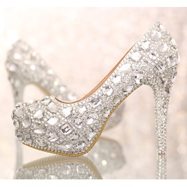 Luxurious Closed Toe Stiletto Heel Silver Crystal Wedding Shoes