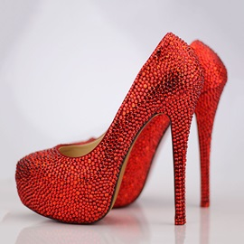 Red Rhinestone Stiletto Heel Platform Prom Shoes