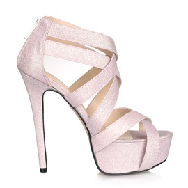 Nice Pink Cross Strap Zipper Upper Platform Prom Shoes