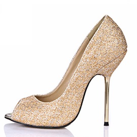 High-End Lurex Knitted Peep Toe Stiletto Heel Pumps