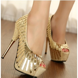 Shinning Sequins Peep-toe Prom Shoes