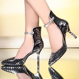 Embossed Covering Heel Prom Shoes