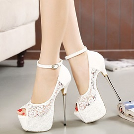 Lace material & Ankle Straps Peep-toe Heel Pumps