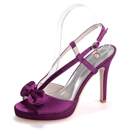 Color Satin Bowknot & Slingback Dress Sandals