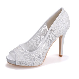 Sweet Collection Flower Lace Peep Toe Pumps
