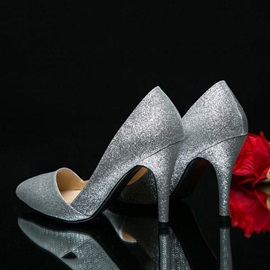 Glitter Pointed Toe Mid Heel Classic Pumps