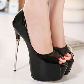 Peep-Toe Metal Heel Platform Pumps