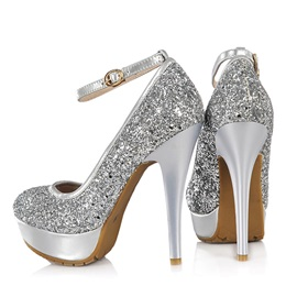 Sequin Stiletto Heel Ankle Strap Prom Shoes
