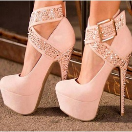 Suede Studded Ankle Strap Prom Shoes