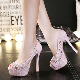 Peep-Toe Lace Patchwork Prom Shoes
