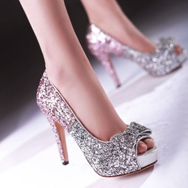 Sequin Peep-Toe Bowknot Prom Shoes