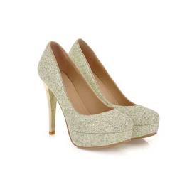 Full-Sequin Platform Women's Prom Shoes