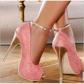 Peep-Toe Ankle Strap Awl-Heel Prom Shoes
