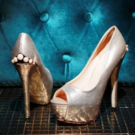 Beading Peep-Toe Stiletto Heel Prom Shoes