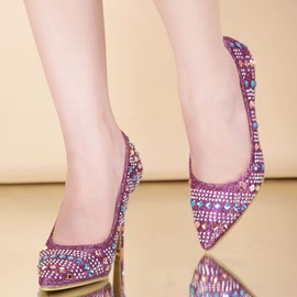 Full-Rhinestone Pointed Toe Prom Shoes