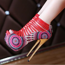 Boho Strappy Peep-Toe Platform Prom Shoes