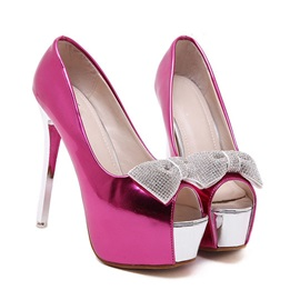 Bowtie Peep-Toe Stiletto Heel Prom Shoes