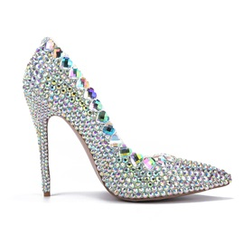 Full Rhinestone Stiletto Heel Pumps