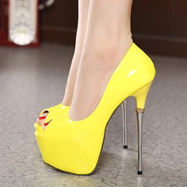 PU Peep-Toe Stiletto Heel Prom Shoes