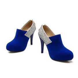 Suede Sequins Back-Zip Prom Shoes