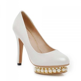 Solid Color PU Beading Sole Prom Shoes