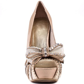 Champagne Bowknots Peep-Toe Prom Shoes