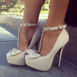 Bowknots T-Strap Stiletto Heel Platform Shoes
