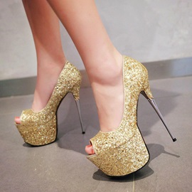 Sequins Peep-Toe Stiletto Heel Platform Prom Shoes
