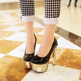 PU Sequins Sole Chunky Heel Prom Shoes