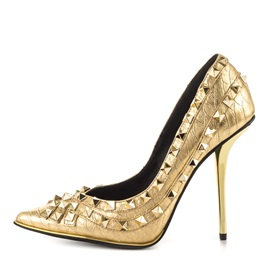 Golden Rivets Stiletto Heel Prom Shoes