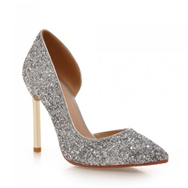Sequins Stiletto Heel Slip-On Prom Shoes