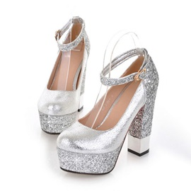 Sequins Chunky Heel Ankle Strap Prom Shoes