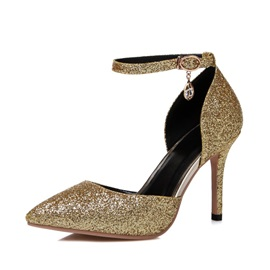 Sequins Pointed Toe Ankle Strap Pumps