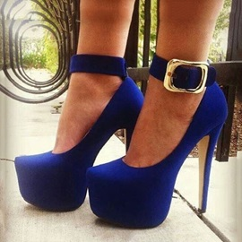 Blue Suede Buckles Stiletto Heel Prom Shoes