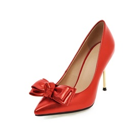 Bowtie Pointed Toe Stiletto Heel Prom Shoes