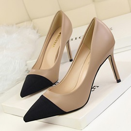 PU Slip-On Contrast Toe Slip-On Stiletto Pumps