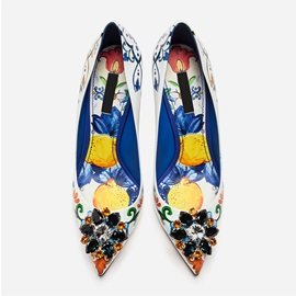 Floral Rhinestone Pointed Toe Stiletto Heel Women's Sandals