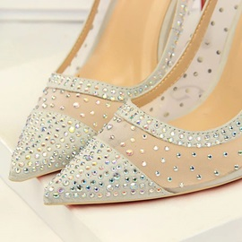 Slip-On Rhinestone Pointed Toe Prom Shoes