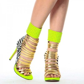 Customized Heel Covering Stiletto Heel Zipper Neon Sandals