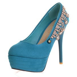 Luxurious Rhinestone Chain Exotic Blue Platform Women's Pumps