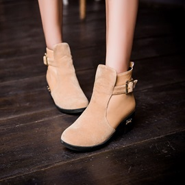 Multi Color Patchwork Buckle Wedged Heels Short Boots