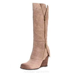 Knee-high Side Zipper Wedge Boots