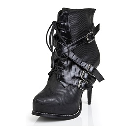 Black Oxhide Diamond Pattern Lace-Up Stiletto Heel Ankle Booties